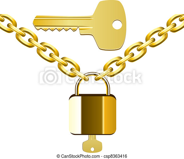 Clip Art Vector of vector chain, lock and key csp8363416 - Search ...