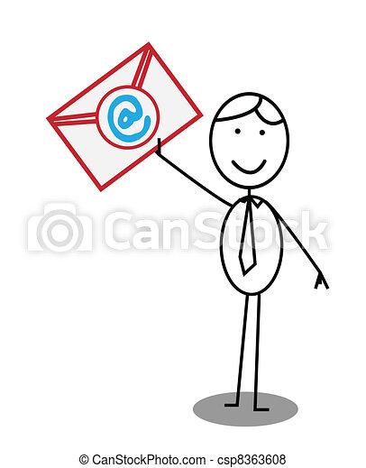post businessman email  - csp8363608