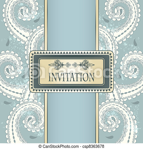 vector invitation template eastern  pattern and place for your text on  grungy background  - csp8363678