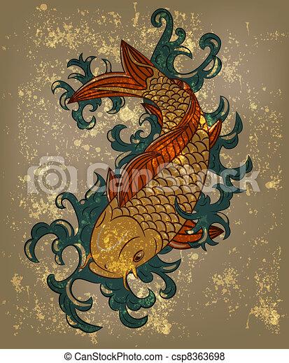 Vecteur de vecteur japonaise koi carpe fish grungy for Carpe koi japonaise