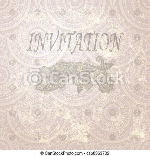 eps 10, vector vintage invitation with paisley element and seamless eastern  pattern - csp8363702