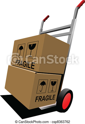 Boxes on hand pallet truck. Vector - csp8363762