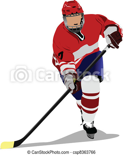 Ice hockey player. Colored Vector  - csp8363766