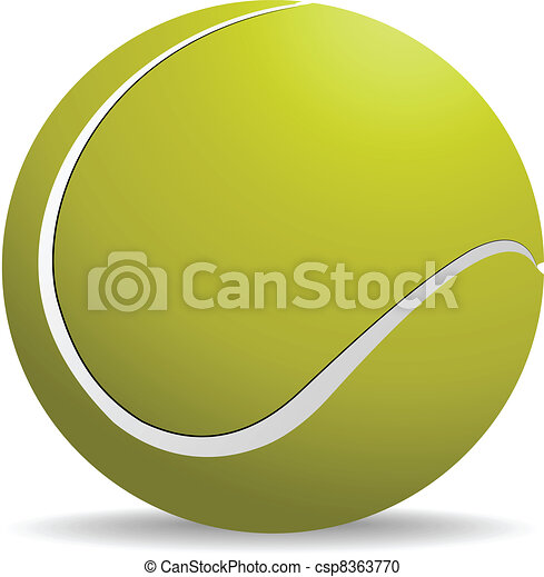Yellow-green tennis ball on white - csp8363770