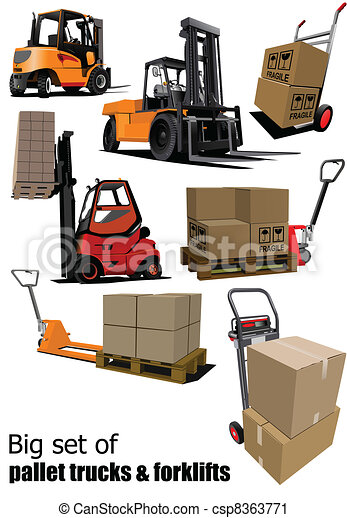 Big set of Forklifts and pallet tr - csp8363771