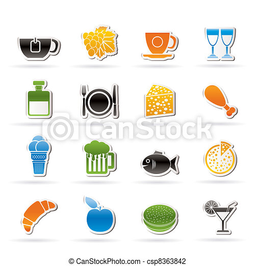Food, Drink and beverage icons - csp8363842