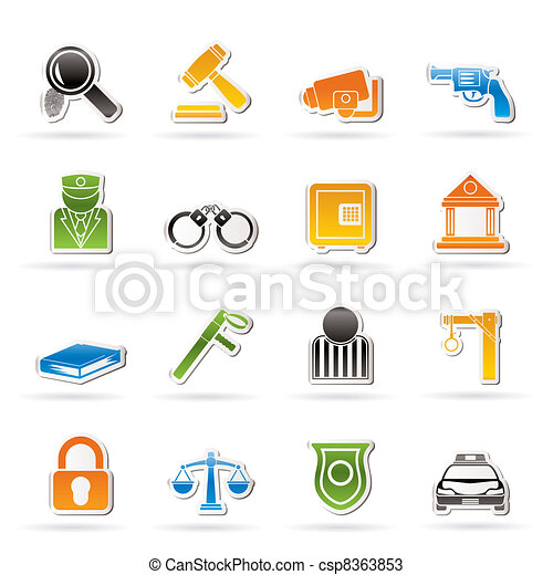 Law, Police and Crime icons - csp8363853