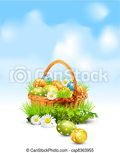 Easter background with  basket full - csp8363955