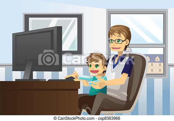 Father and son using computer - csp8363966