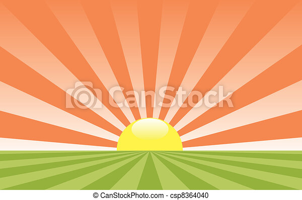 vector abstract rural landscape with rising sun - csp8364040