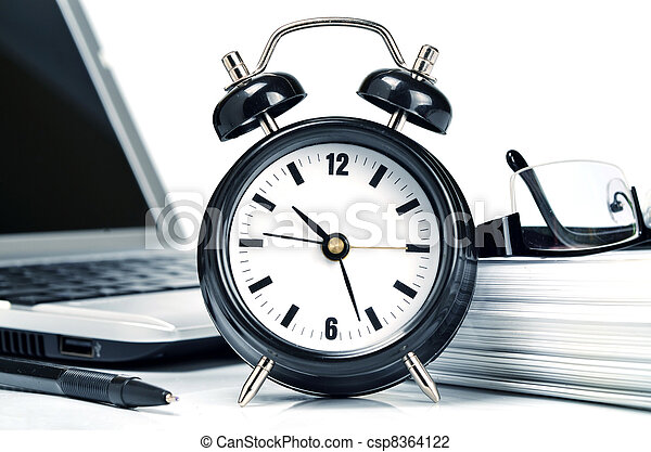 Conceptual shot of office work in relation with time efficiency. - csp8364122