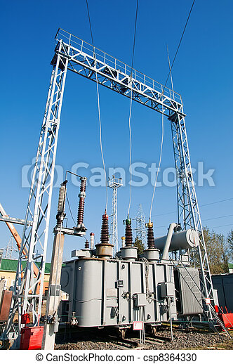 transformer on high power station. High voltage - csp8364330