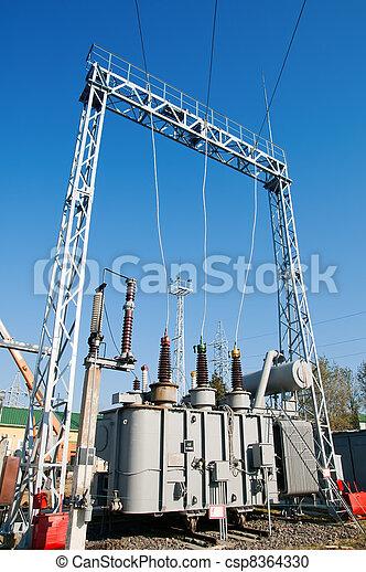 transformer on high power station. High voltage - csp8364330
