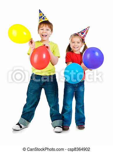 Kids in birthday caps - csp8364902
