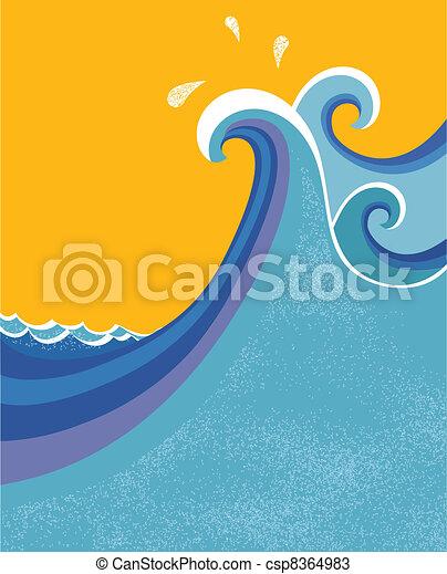 Sea waves poster. Vector illustration of sea landscape. - csp8364983