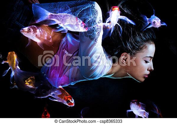 pesci, fantasia, donna, tuffo - csp8365333