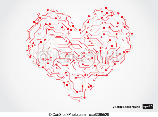 Electronic circut board heart shape - csp8365528
