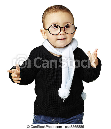 portrait of adorable kid gesturing doubt against a white backgro - csp8365886