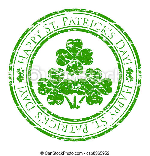 Vector illustrator of a grunge rubber stamp with four-leaves clover and text (happy st. patrick's day written inside the stamp) isolated on white background - csp8365952