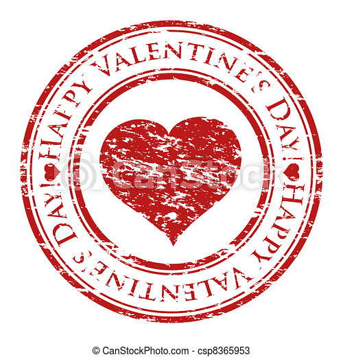 Vector illustrator of a grunge rubber stamp with heart and text (happy valentine's day written inside the stamp) isolated on white background - csp8365953
