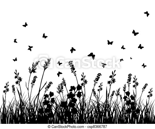meadow silhouettes - csp8366787