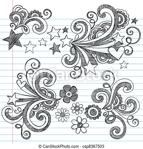 Back to School Notebook Doodles - csp8367503
