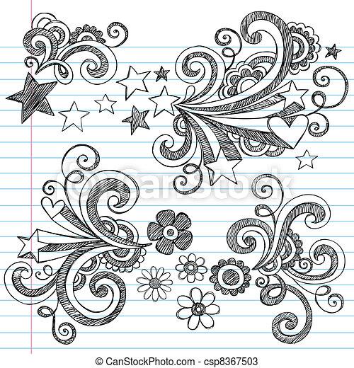 Back to School Notebook Doodles - csp8367503