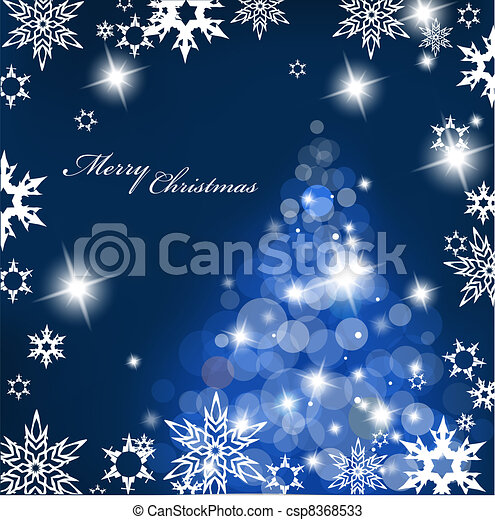 Christmas tree with blurred lights on blue background. - csp8368533