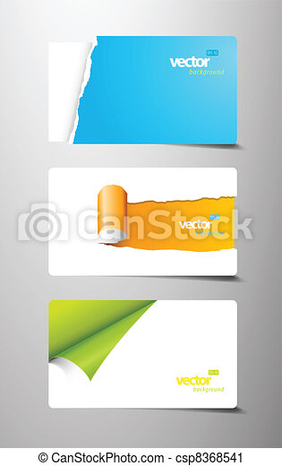 Set of gift cards with rolled teared corners.  - csp8368541