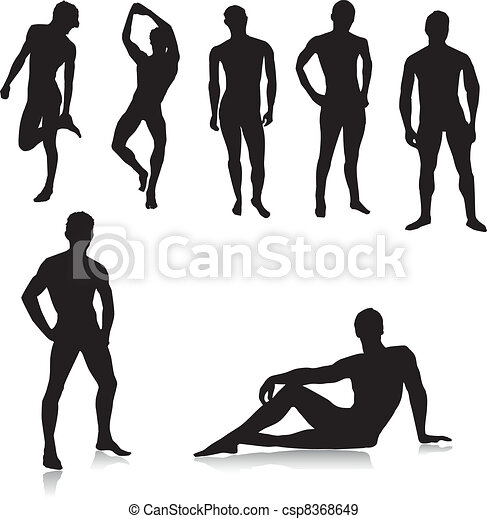 Nude Male Silhouettes.Vector - csp8368649