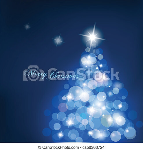 Christmas tree with blurred lights on blue background. - csp8368724