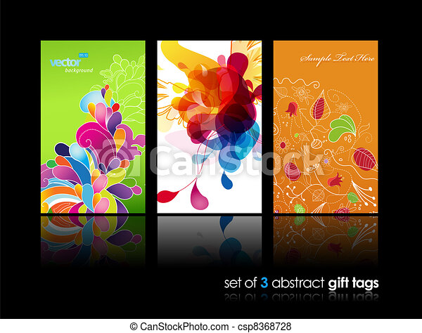 Set of abstract colorful splash and flower gift cards with reflection. - csp8368728