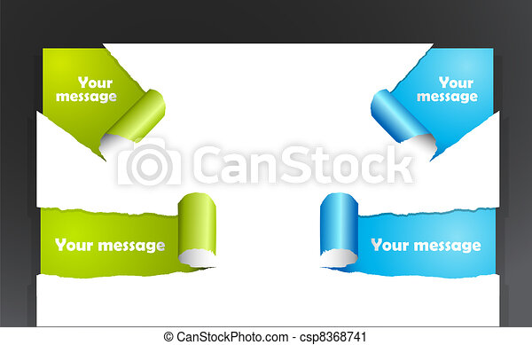 Set of teared paper with place for your own text.  - csp8368741