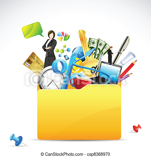 Vector Clipart of Business Folder - illustration of office stationery ...