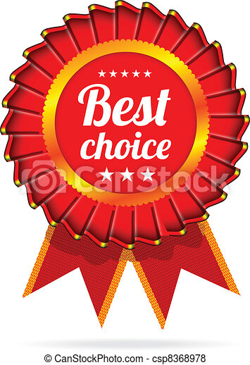 Best choice red label with ribbons - csp8368978