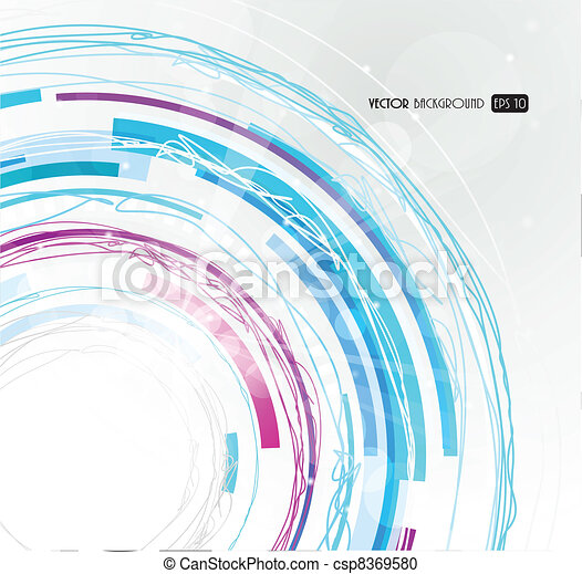 Abstract futuristic blue circle. - csp8369580
