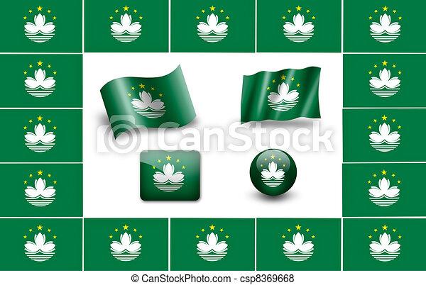 Flag of Macau. icon set. flags frame - csp8369668