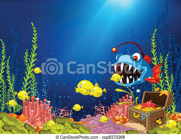 Ocean Underwater Cartoon - csp8370268