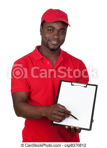 Worker courier with red uniform - csp8370812
