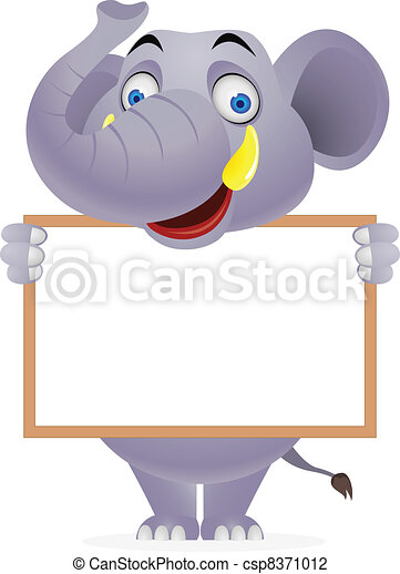 Elephant and blank sign - csp8371012