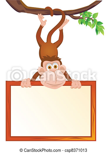 Funny monkey with blank sign - csp8371013