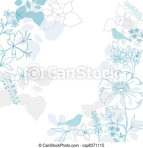 Bird and Floral Elegant Background - csp8371115