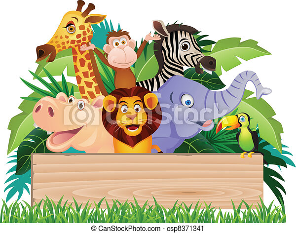 Animal cartoon and signboard - csp8371341
