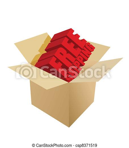 free shipping Carton Box on white  - csp8371519