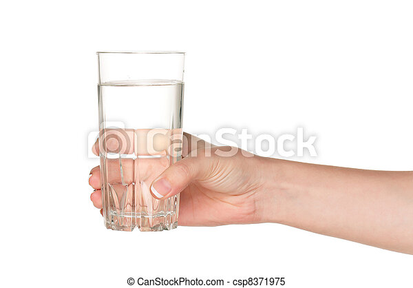 Hand with glass of water - csp8371975