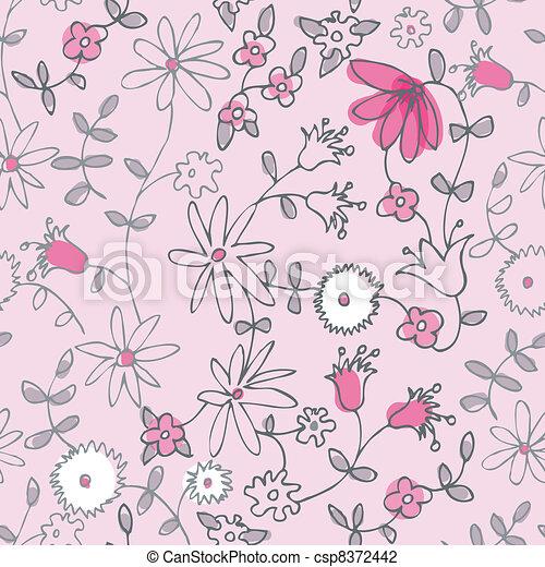 Little Flowers Drawing Pink Little Flower Seamless