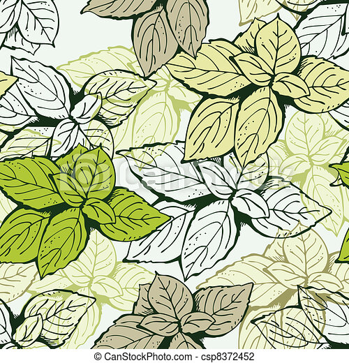 Vector Illustration of Seamless leaf floral pattern - Background from ...