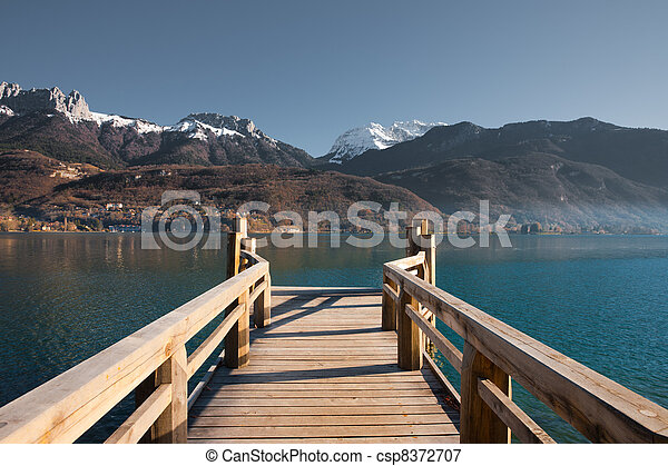 French Alps Pier Lake H - csp8372707