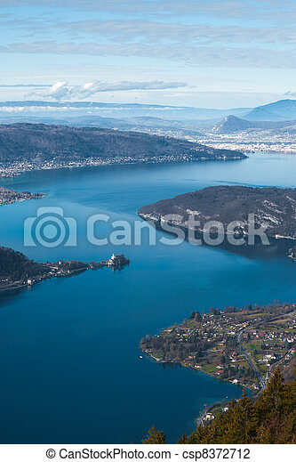 Annecy Lake Aerial V - csp8372712