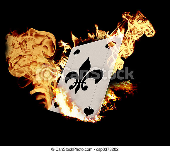 Burning Card illustration over black background - csp8373282